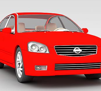 红色尼桑汽车