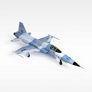 3d蓝白色客机模型