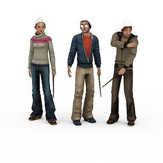 卡通人物组合3d模型