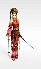 卡通红衣少女模型3d模型