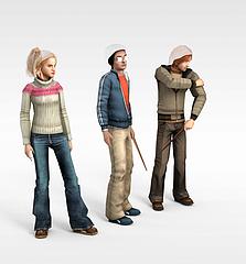 卡通人物组合模型3d模型