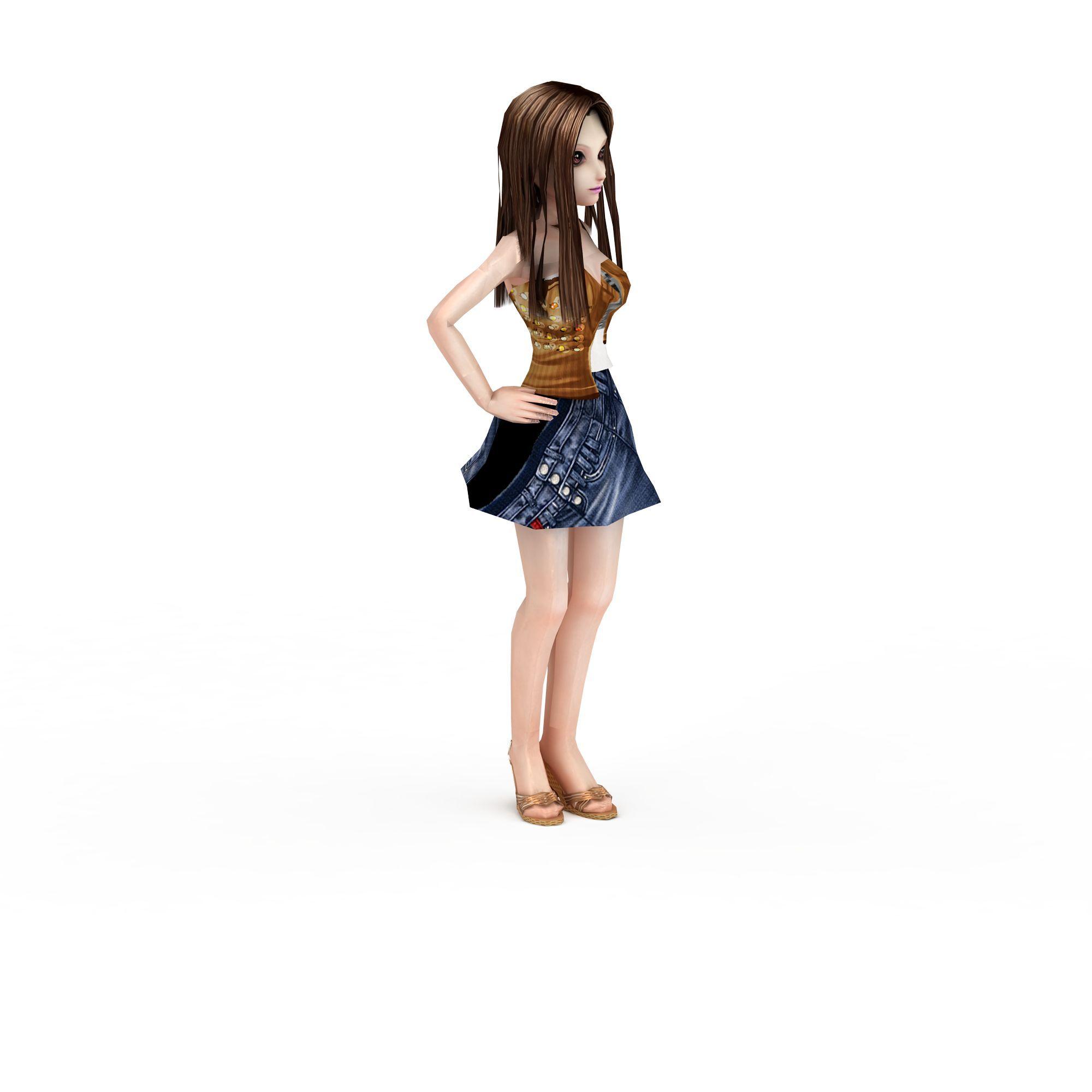 3d模型下载 人物3d模型 多人 卡通长发少女3d模型 卡通长发少女png