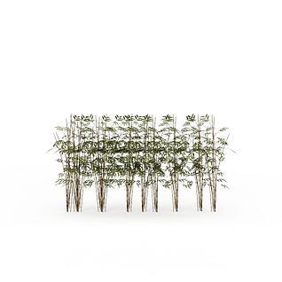 公园绿竹3d模型