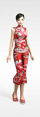 卡通红衣女性模型3d模型