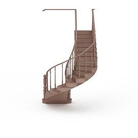 3d旋转木制楼梯模型