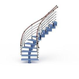 3d蓝色<font class='myIsRed'>旋转楼梯</font>模型