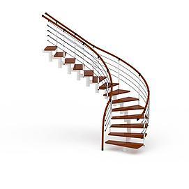 旋转木制楼梯3d模型