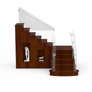 木制复式楼梯3d模型