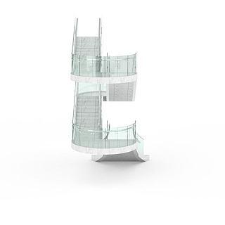 旋转玻璃<font class='myIsRed'>楼梯</font>3d模型