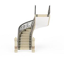 复古石质楼梯3d模型