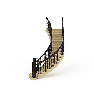 复古弧形楼梯3d模型