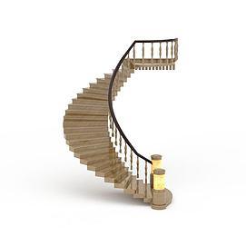 3d单侧扶手弧形楼梯模型