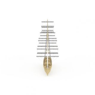 三帆木制船3d模型
