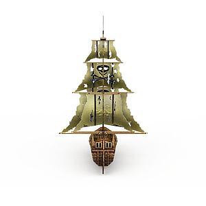 古代木制海盗船模型