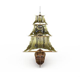 古代木制海盗船3d模型