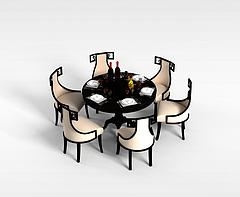 中式桌椅组合模型3d模型
