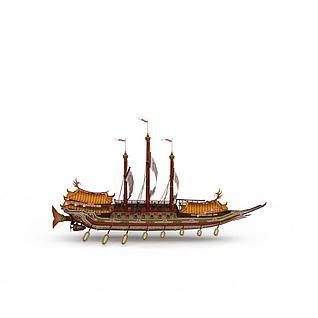 古代大型手划船3d模型