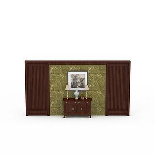 古典背景墙3d模型