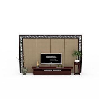日式背景墙3d模型
