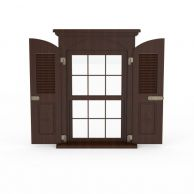 现代木制窗户3D模型3d模型