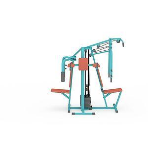 健身房多功能健身器材模型