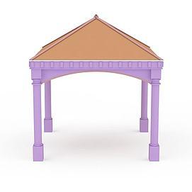 3d紫色凉亭模型