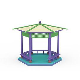 3d六角凉亭模型