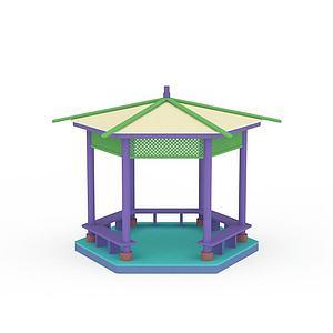 3d六角涼亭模型
