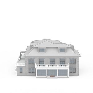 3d欧式小洋楼模型