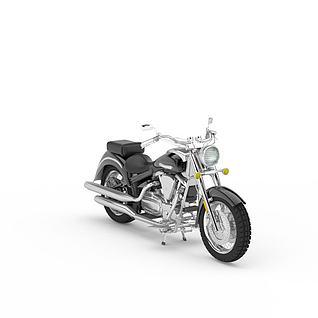 黑色摩托车3d模型