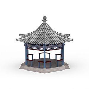 3d中式六角亭模型