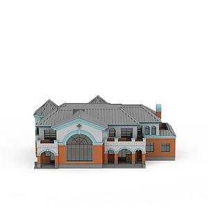 3d中式風格別墅模型