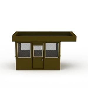 3d綠色門衛房模型