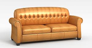 3d棕色<font class='myIsRed'>皮质沙发</font>模型