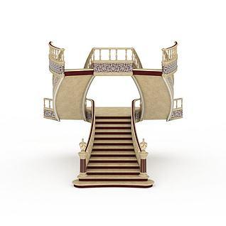 欧式奢华楼梯3d模型