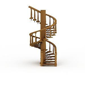 3d木制<font class='myIsRed'>旋转楼梯</font>模型