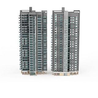 现代双子建筑3d模型
