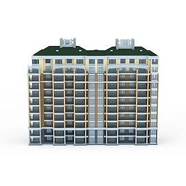 现代居住楼3d模型