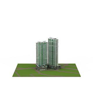 现代子母建筑3d模型