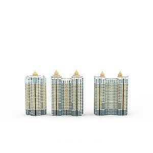 现代建筑群模型3d模型