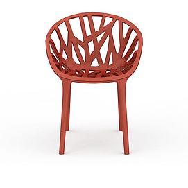 红色简约藤椅3d模型