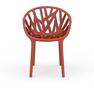 3d红色简约藤椅模型