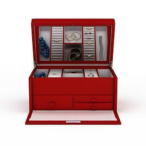 3d紅色首飾箱模型