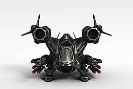 黑色玩具飞机3d模型