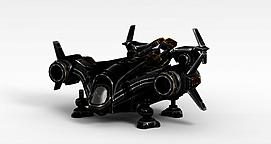 黑色变形飞机3d模型