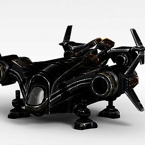 3d黑色变形飞机模型