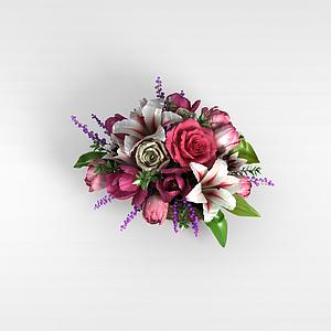 3d仿真盆花模型