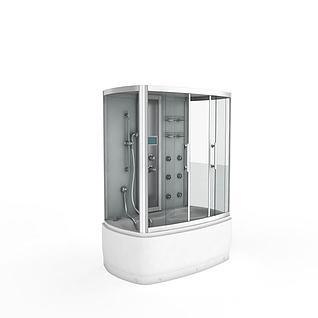 浴缸淋浴房一体3d模型
