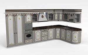 西方开放式厨房模型3d模型