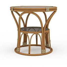 3d藤编凳子模型